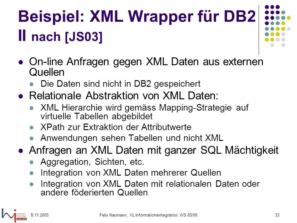 Beispiel: XML Wrapper für DB2 II nach [JS03]